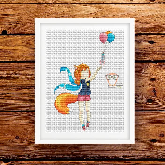 "Free Cross Stitch pattern download ''Cute Fox Girl"""