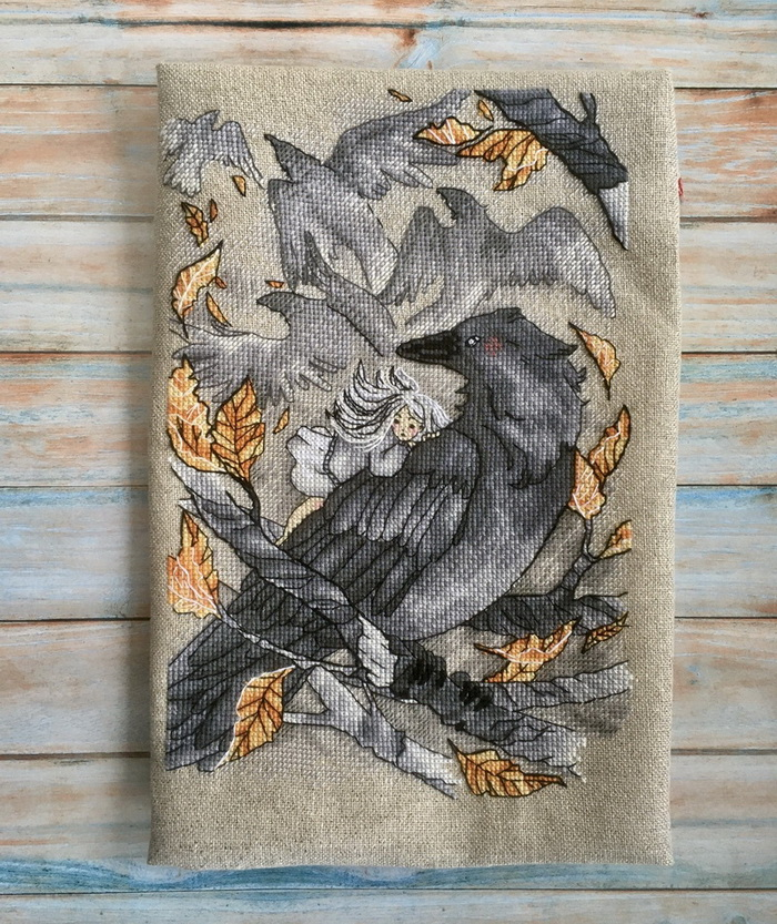 Gothic cross stitch Ravens Flock modern embroidery download