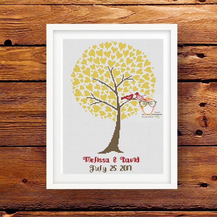 Wedding sampler cross stitch pattern Love Tree