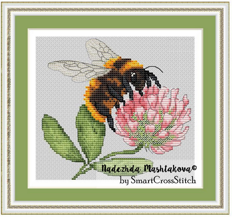 Bumblebee & Clover Free Cross Stitch Pattern