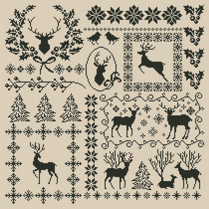 Ornament Cross stitch pattern Christmas Sampler}
