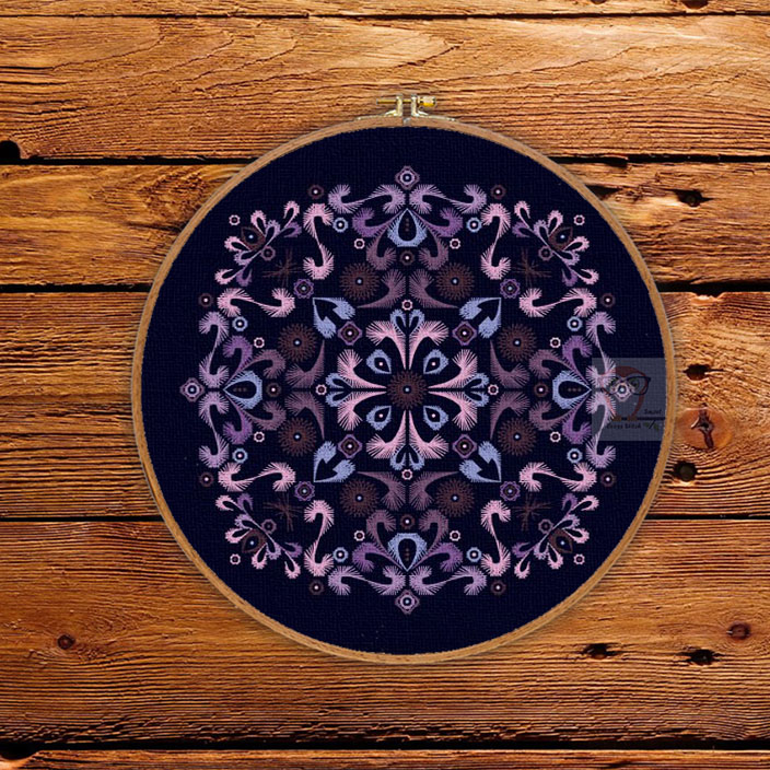 Purple Embroidery Round Ornament Pattern
