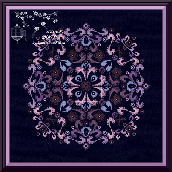 Purple Embroidery Round Ornament chart