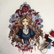 Alice in Wonderland cross stitch pattern Alice Gothic}