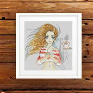 Anime Cross stitch pattern Girl & Whales}