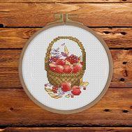 Apples Cross stitch pattern Autumn Basket}