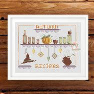 Halloween Autumn recipes cross stitch pattern