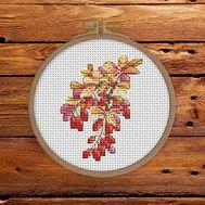 Autumn Cross stitch pattern Barberry Branch}