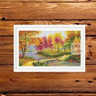 Autumn Cross stitch pattern Forest Landscape