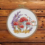 Autumn Cross stitch pattern Toadstools}