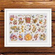 Autumn Sampler Cross stitch pattern}
