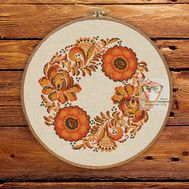 Autumn wreath floral cross stitch pattern