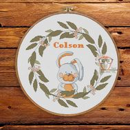 Baby Boy cross stitch pattern  Round Bunny Sampler