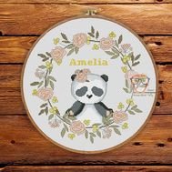 Baby Cross stitch pattern Girl Name Panda Round Sampler
