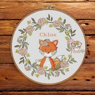 Baby Cross stitch pattern Girl Sampler Little Fox