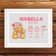 Baby Girl cross stitch pattern Teddy Bear