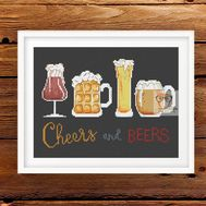 Beers & Cheers funny cross stitch pattern