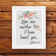Bible verse cross stitch pattern Love