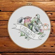 Bird Cross stitch pattern Spring}