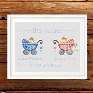 Birth sampler Twins baby cross stitch pattern