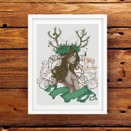 Boho Cross stitch pattern Fantasy Christmas pattern}