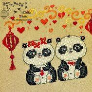 Chinese Cross Stitch pattern Pandas Love