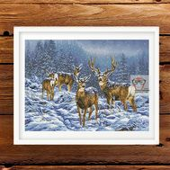 Christmas Cross stitch pattern Winter Deers}