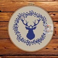 ''Reindeer Stag'' Christmas cross stitch pattern pdf