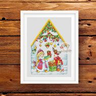 Christmas House with Snow Maiden cross stitch pattern}