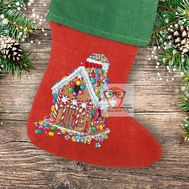Christmas Stocking cross stitch pattern Gingerbread House