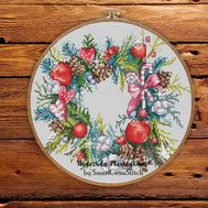 {en:Christmas Wreath Round cross stitch pattern;}
