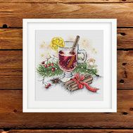 {en:Christmas cross stitch pattern Mulled Wine;}