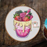 Pink Dessert Cooking cross stitch pattern