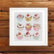 Free Cross Stitch pattern ''Cupcakes""