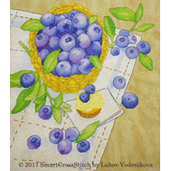 Blueberry basket Cute cross stitch pattern