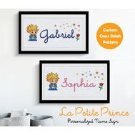 Disney cross stitch pattern Little Prince custom baby name sign