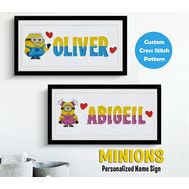Disney cross stitch pattern Minion baby name