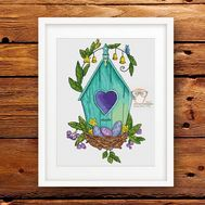Spring Birdhouse Easter cross stitch pattern