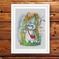 Fairy Cross stitch pattern Raccoon}