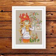 Fantasy Cross stitch pattern Autumn Girl}