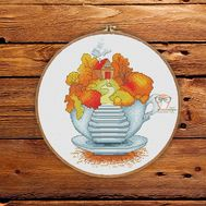 Fantasy Cross stitch pattern Autumn in the Teapot