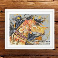 {en:Fantasy cross stitch pattern Golden Horses;}