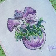 Fantasy cross stitch pattern Mushrooms in the vase}