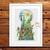 Fantasy cross stitch pattern Summer Flowers}