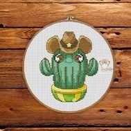 Floral Cross stitch pattern Cowboy Cactus 4}