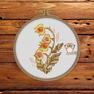 Floral Cross stitch pattern Physalis}