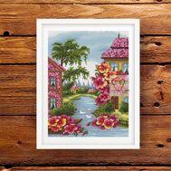 Floral Cross stitch pattern Summer Town