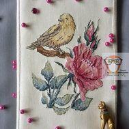 Bird & Rose Floral cross stitch pattern