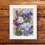 Irises & Bumblebee Floral cross stitch pattern