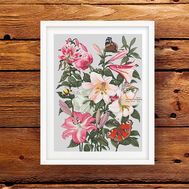 Lilies & Bumblebee Floral cross stitch pattern